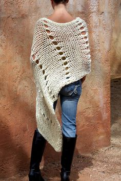Junea-  Beautiful Cream HandKnit Poncho By Eva Bella