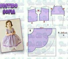 Best 11 Veja a publicação completa no site. Baby Girl Dress Patterns, Baby Clothes Patterns, Doll Dress Patterns, Kids Patterns, Little Girl Dresses, Baby Frocks Designs, Kids Gown, Kids Frocks, Baby Sewing