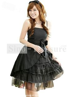 Black Knee-Length Taffeta/Fine Netting Spaghetti Straps Cocktail Dresses/Homecoming Dresses -Wedding & Events-Special Occasion Dresses-Cocktail Dresses/Homecoming Dresses