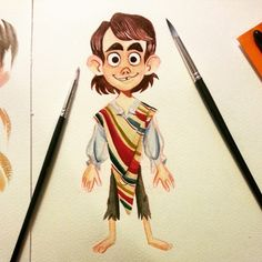 Finished! More to come soon! #painting #paint #gouache #watercolor #boy #poncho #mexican #visdev #character #design #project #personal #portfolio #traditional