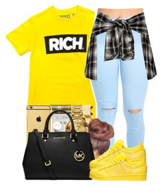 """💰RICH💰"" by yourstrulylanah ❤ liked on Polyvore featuring MICHAEL Michael Kors and adidas"