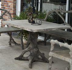 Best Concrete Faux Bois Images On Pinterest In Cement - Faux concrete outdoor dining table