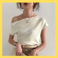 2019 Korean Style Knitted Top Women T Shirt Summer Sexy One Shoulder Ice Silk Kn. 2019 Korean Style Knitted Top Women T Shirt Summer Sexy One Shoulder Ice Silk Knitting Tshirt Casual Street Chic Tees 7 . 1950s Style, Mode Outfits, Fashion Outfits, Fashion Women, Gym Outfits, Fashion Belts, 1950s Fashion Dresses, Fashion 1920s, 1950s Dresses