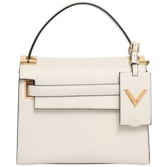 VALENTINO Small My Rockstud Leather Top Handle featuring polyvore, fashion, bags, handbags, light ivory, studded purse, pink studded purse, genuine leather purse, valentino purses and leather purse