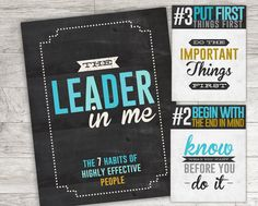 Classroom printables, 7 Habits of Highly Effective People, Leader in Me, Turquoise and Gold, INSTANT DOWNLOAD - 8.5x11 - 9 posters total