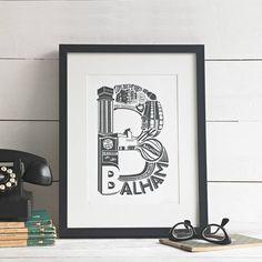 Best Of Balham Screen Print from notonthehighstreet.com