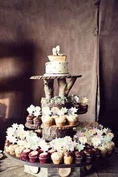 Display rústico para cupcakes