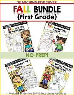 Fall into learning! Math, language, handwriting, and writing prompts for first grade!