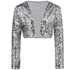 Sparkly Sexy Women Sequin Cardigan Jacket Coat Long Sleeve Short Cropped  Bolero Shrug Clubwear Vintage Party Costumes Black Jacket Fleece Jackets  From ... b96ef169ea5d