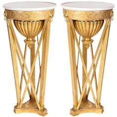 Very Fine Pair of Italian Neoclassical Gueridons | From a unique collection of antique and modern side tables at http://www.1stdibs.com/furniture/tables/side-tables/