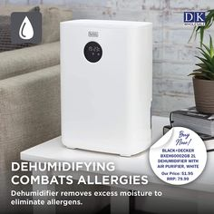 2-in-1 AIR PURIFIER: Built-in air purification system included to help remove allergens such as pollen and bacteria, in addition to clearing the air of unpleasant odors PORTABLE AND LIGHTWEIGHT: The lightweight, compact design makes the dehumidifier easy to move room-to-room ECONOMIC AND ECO-FRIENDLY: The device is cost-effective, consuming a low amount of power to save energy and money. Domestic Appliances, Fruit Juicer, Air Purifier, Save Energy, Food Processor Recipes, Compact, Eco Friendly, Money, Easy