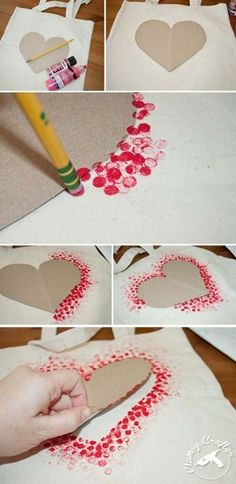 DIY Tote Bag - Make This Fabulous Heart Tote Bag with a Pencil!, DIY Tote Bag - Make This Fabulous Heart Tote Bag with a Pencil! Easy DIY Tote bag from Clumsy Crafter for Valentine& day. Unique Valentines Day Gifts, Valentine Day Crafts, Holiday Crafts, Kids Valentines, Valentines Day Crafts For Preschoolers, Valentine Ideas, Diy Valentines Cards, Diy Birthday Cards For Mom, Christmas Gifts
