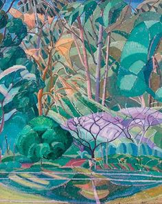 """Trees"". Grace Cossington Smith (circa 1927) 91.5 x 74.3 oil on plywood"