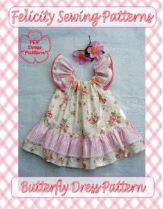 Butterfly Dress Sewing Pattern and Tutorial. Baby Girl's Dress Pattern.  Children's PDF Pattern. on Etsy, $9.57 CAD