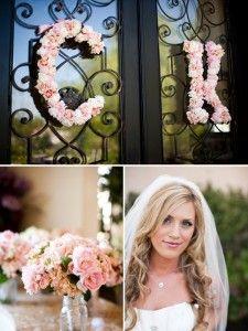 Feminine Wedding Flowers. I love the letters