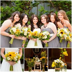 Rustikale Hochzeit Inspiration Dekoration Einladungskarten Braut und Brautjungfer mit Sonnenblumen Rustikale Hochzeit Inspiration  Dekoration, Einladungskarten usw.