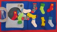 Sock-matching quiet book page. This is so cute. There are lots of other quiet book page ideas as well.