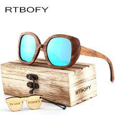 FuzWeb:New fashion Sunglasses Men Glass Bamboo Sunglasses Polarized sunglasses au Retro Vintage Wood Lens Wooden Frame Handmade.BA98