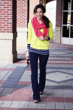 Love this outfit! Has a nautical feel to it. Really like all the colors together, especially the yellow cardigan.