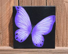 Original Purple Butterfly handpainted on by ColorsbyRuth Simple Canvas Paintings, Easy Canvas Art, Small Canvas Art, Mini Canvas Art, Acrylic Painting Canvas, Diy Canvas, Painting Abstract, Butterfly Canvas, Purple Butterfly