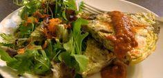 Potato & Mushroom Frittata with Roasted Red Pepper Puree | Dawn Jackson Blatner, Registered Dietitian