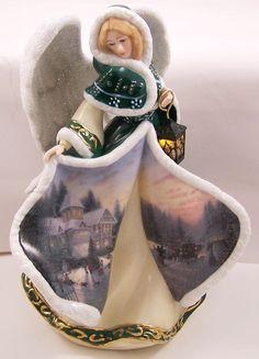 Thomas Kinkade Illuminated Angel of Peace Figurine Winter Angel of Light Series #BradfordExchange