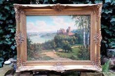 Herrliches Ölgemälde Schloß Stolzenfels Rheinromantik  Rhein Gemälde Prunkrahmen