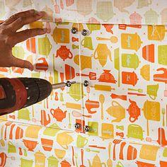 plexiglass and fabric backsplash! fast and versatile!