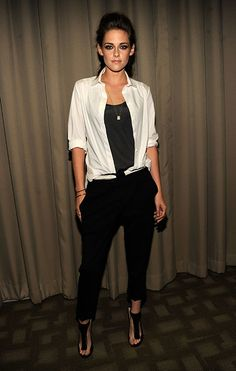 Kristen Stewart sexed up the New York screening of On The Road, wearing an uber chic ensemble that consisted of A.L.C wool pants, a #Balenciaga blouse and #JimmyChoo sandals.