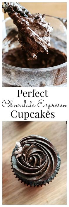 Rich dark chocolate and espresso are a perfect pair. These cupcakes are so tender with just the right amount of icing. Vanilla And Bean Gourmet Cupcakes, Yummy Cupcakes, Cupcake Recipes, Baking Recipes, Cupcake Cakes, Dessert Recipes, Cup Cakes, Oreo Cupcakes, Strawberry Cupcakes
