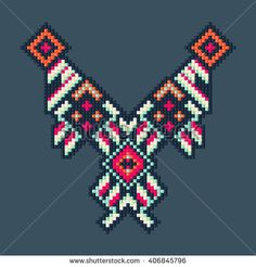 Vector illustration with Aztec designs. Ancient Scripts, Geometric Embroidery, Bead Crochet Rope, Aztec Designs, Ethnic Patterns, Neck Pattern, Machine Embroidery Designs, Pixel Art, Illustration