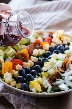 Blueberry Cobb Salad with Blueberry Balsamic Vinaigrette #BrunchWeek #BlueberryToss #FWCon