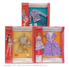 Palitoy Tressy Doll boxed outfits. To include Spring Flowers, Romany Lass, Hot Pants. There are splits to the cellophane. Conditions are Near Mint to Mint ...
