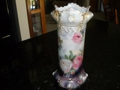 "Gorgeous Vintage Antique RS Prussia Opalescent Floral Scalloped Vase 9"" Tall 