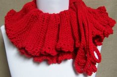 Red Gathered Neckwarmer  Ready To Ship by pflumsthumbs on Etsy