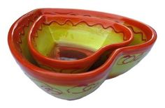 Cactus Canyon Ceramics Decorative Heart Shaped Bowl Set of 2 (Sol Design) - Hand Painted in Spain