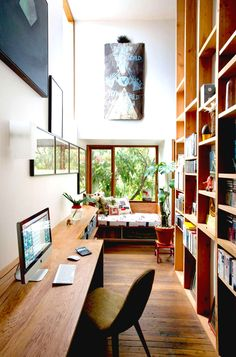 Huge shelving unit in home office