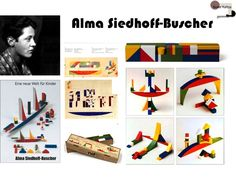 In 1925, Alma Siedhoff-Buscher moved to Dessau with the Bauhaus. She was a student there until 1927 and then later worked as an employee. In 1926, her toy designs featured in the exhibition called The Toy in Nuremberg.