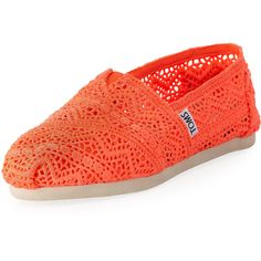 TOMS Crochet Slip-On ($44) ❤ liked on Polyvore featuring shoes, flats, toms, crochet flats, orange shoes, arch support shoes, flat pumps and flat slip on shoes