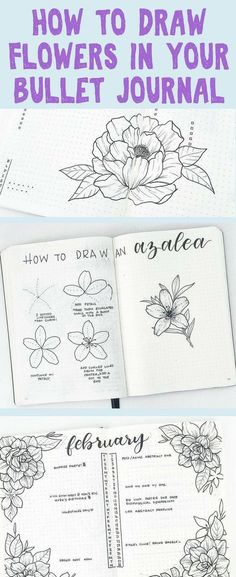 Planner Doodles and Bullet Journal Ideas Galore! Get tons of ideas on how to draw the most stunning flower doodles to decorate your planners and bullet journals with! Check out these epic tips on creating over 15 different types of flowers! Bullet Journal Spreads, Bullet Journal Layout, Bullet Journal Inspiration, Bullet Journals, Art Journals, Journal Ideas, Bullet Journal Design Ideas, Easy Flower Drawings, Flower Drawing Tutorials