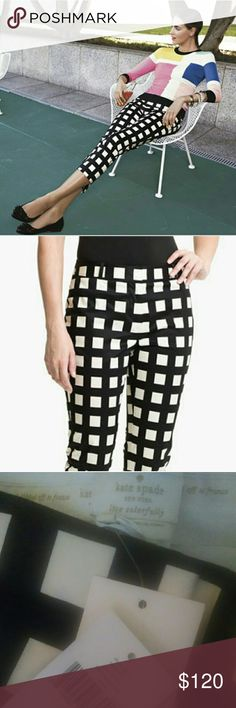 """SALE-NWT Kate spade davis capris Checkered Kate spade capris/ cropped pants. First two pics are retailer's and for reference only. NWT!!  Flatter your gorgeous stems with the clamorous checks of the Kate Spade New York? Davis Capri pants! Belt loops at waistband. Concealed zipper fly with clasp closure. Two front and back pockets. Center front pleat. Straight leg with side vents at cuffs. 98% cotton, 2% elastane. Dry clean only. Imported. Inseam is approximately 25"""" kate spade Pants Capris"""