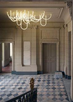 Les Cordes, digital LED chandelier by Mathieu Lahanneur lights up the main lobby of the Marseille's 18th-century Chateau Borély