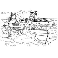 Leuk voor kids kleurplaat ~ Een duikboot aan de oppervlakte