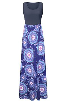 Kranda Womens Summer Bohemian Floral Print Sleeveless Maxi Tank Dress.This tank dress is very gorgeous! It is made of super soft material perfect to wear to a summer beach with a UV-long sleeve wrap!...