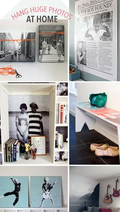 Great ideas for hanging large photos at home.