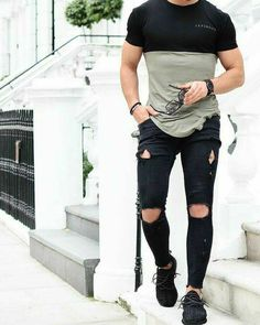 Double Color T-Shirt With Black Ripped Jeans