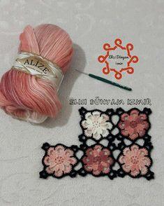 No photo description available. Crochet Daisy, Crochet Fabric, Crochet Motifs, Crochet Stitches, Free Crochet, Knit Crochet, Knitting Designs, Crochet Designs, Knitting Patterns