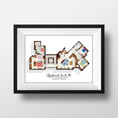 Big Bang Theory Art Print - Apartment Floor Plan - TV Memorabilia - TV Floor Plan - Print for Home of Sheldon, Leonard and Penny - TV Show Poster *** Want additional info? Click on the image.
