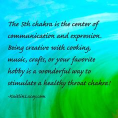 The Chakra is the center of communication and expression. Being creative with cooking, music, crafts, or your favourite hobby is a wonderful way to stimulate a healthy throat chakra. Mind Body Spirit, Mind Body Soul, Chakra Meditation, Chakra Healing, Reiki, Ayurveda, Spiritual Enlightenment, Yoga Spirituality, Spiritual Awakening
