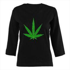 Marijuana Cannabis leaf 3/4 Sleeve T-shirt (Dark)